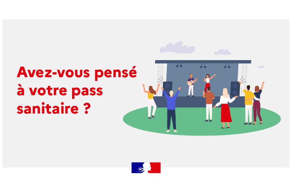 """Dessin simple d'un petit concert avec le texte """"Avez-vous pensé à votre pass sanitaire ?"""" et le logo du gouvernement français"""